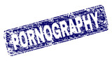 PORNOGRAPHY stamp seal print with grunge texture. Seal shape is a rounded rectangle with frame. Blue vector rubber print of PORNOGRAPHY caption with unclean texture.