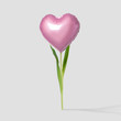 canvas print picture - Pink heart balloon on a flower stalk on bright background. Minimal love concept.