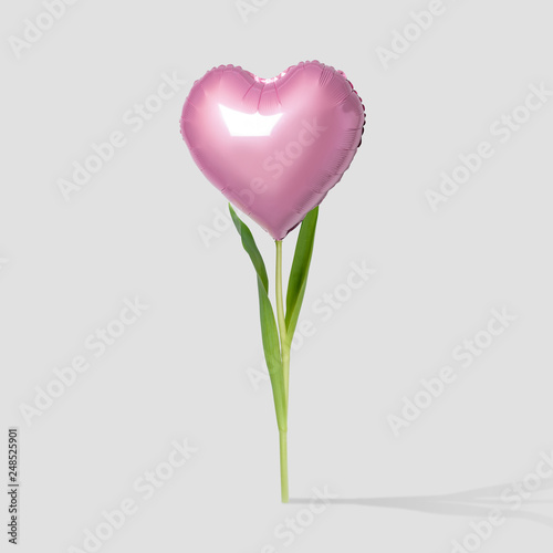 canvas print picture Pink heart balloon on a flower stalk on bright background. Minimal love concept.