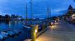 Quadro Beautiful panoramic view on the marina during a cloudy sunrise. Taken in Camden, Maine, United States.