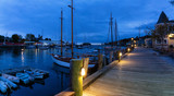Beautiful panoramic view on the marina during a cloudy sunrise. Taken in Camden, Maine, United States. - 248526585