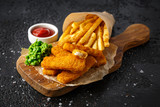 Fish fingers, mashed peas and chips fries. Traditional British fast food - 248526933
