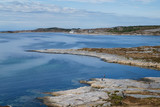 Rocky coast and Atlantic ocean, Beautiful landscape near Atlantic road in Norway in bright spring day.