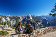 Leinwandbild Motiv Happy family visit Yosemite national park in California