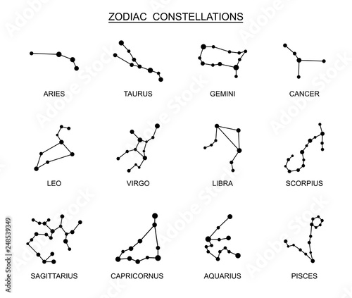 Zodiac constellation set. Vector illustration © warmworld