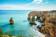 Natural double arch in Portugal - 248543348