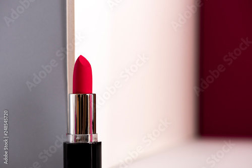 Pink lipstick on modern background