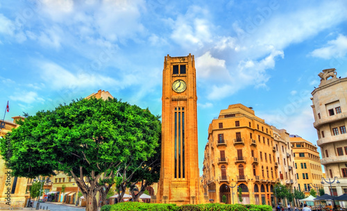 Clock tower on Nejmeh square in downtown Beirut, Lebanon