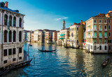 View of Grand Canal of Venice from historic Rialto Bridge