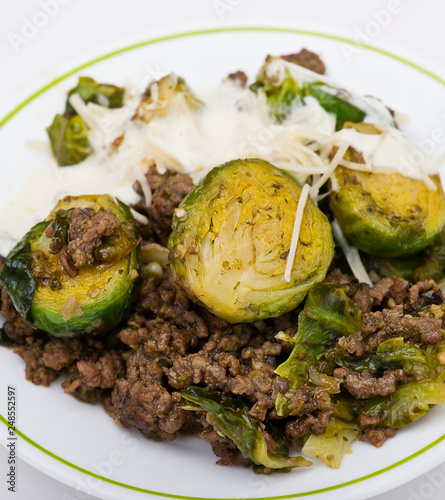 Foto Murales Brussels sprouts and beef on white background