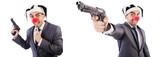 Funny clown businessman with handgun - 248567771