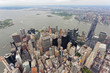 Wide-angle aerial view over Lower Manhattan, looking south-west towards the Hudson River - 248569520