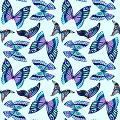 butterfly pattern seamless watercolor and pastel
