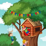 Children playing at tree house - 248576747