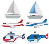 Set of transportation on white background