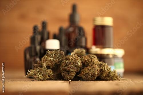 cannabis business concept. Medical Marijuana  hemp and oil