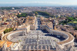 Rome skyline. Saint Peter's Square in Vatican, Rome, Italy. Aerial view of Rome.
