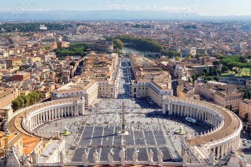 Leinwanddruck Bild Rome skyline. Saint Peter's Square in Vatican, Rome, Italy. Aerial view of Rome.