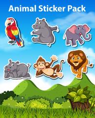 Set of animal sticker pack © brgfx