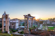 Rome at Sunrise. Beautiful view of the Roman Forum in Rome, Italy