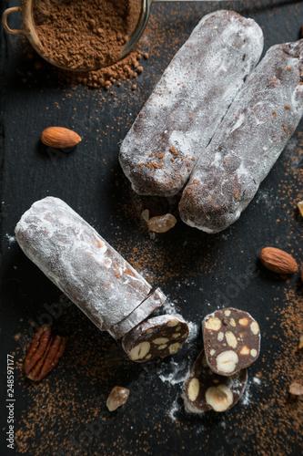 fototapeta na ścianę Chocolate salami with nuts