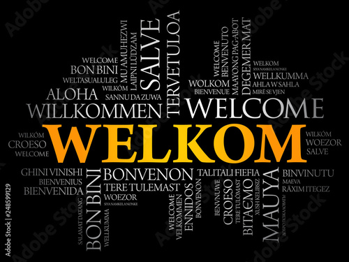 Welkom (Welcome in Afrikaans) word cloud in different languages