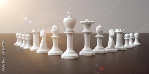 Leinwandbild Motiv White Pawns Leadership