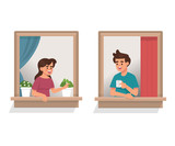 vector illustration woman and man talk to each other in window apartment, neighborhood people - 248602111