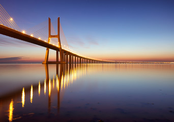 Lisbon bridge - Vasco da Gama at sunrise, Portugal © TTstudio
