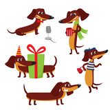 Vector set of cartoon brown funny dachshund isolated on white