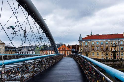 Bernatek Footbridge in Krakow old town characteristic by its unique design