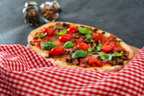 pizza cooked with standard cooked ham and mushrooms