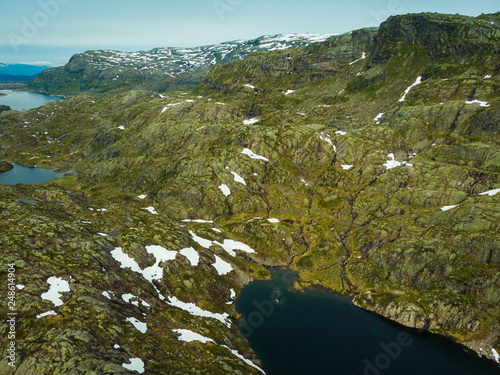 Aerial view. Lakes in mountains Norway