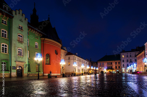 Night view of Krakow old town close to the Former Jewish District