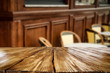 Table backgound of free space and wooden wall background  - 248617942