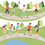 People Running in Summer Park Set, Young Men and Women Jogging, Physical Activities Outdoors, Healthy Lifestyle and Fitness Vector Illustration