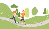 Couple Running in Park, Young Man and Woman Jogging, Physical Activities Outdoors, Healthy Lifestyle and Fitness Vector Illustration