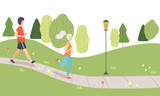 Young Man and Woman Running in Park, People Jogging, Physical Activities Outdoors, Healthy Lifestyle and Fitness Vector Illustration