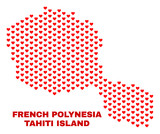 Mosaic Tahiti Island map of valentine hearts in red color isolated on a white background. Regular red heart pattern in shape of Tahiti Island map. Abstract design for Valentine decoration. - 248623954
