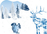 winter forest in three animals outlines