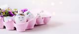 Frohe Ostern - pinker Oster-Banner mit niedlichen Ostereiern, die in einem Eierkarton kuscheln