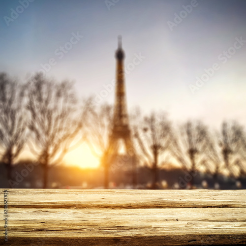 Table background of free space and Paris landscape.
