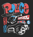 Police patrol car with helicopter, vector shirt print illustration