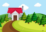 Simple house in rural scene - 248634510