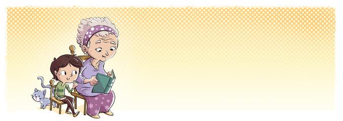 niño y abuela feliz leyendo un cuento