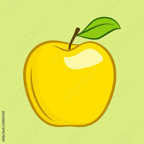 Yellow Granny Smith Apple Fruit with Leaf Flat Icon for Food Apps and Websites on Yellow Background - 248635769