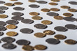selective focus of ukrainian silver and golden coins on grey background