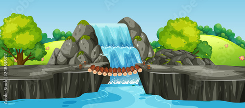 A waterfall nature landscape - 248636317