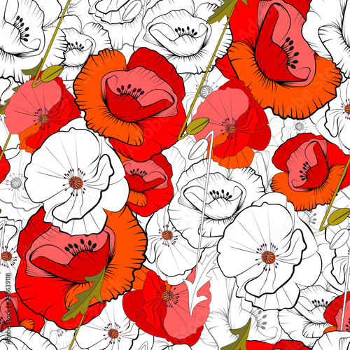 Seamless of poppies - 248639118