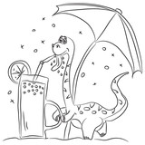 Fototapeta Dinusie - Coloring page outline of cartoon cute dinosaur drinking fresh juice under an umbrella. Vector illustration, summer coloring book for kids. © Drawing Step By Step